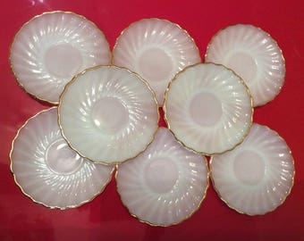 Fire King Ware White Swirl Anchor Hocking Set of 8 Saucer Plates Made in USA