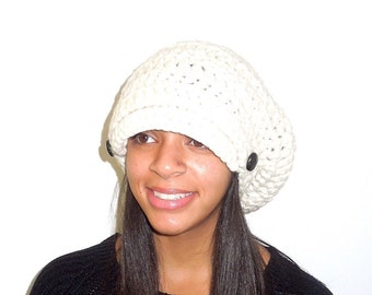 Slouchy Newsboy Hat Crochet, Women, Teen, Beige, Buttons, Hippie, Urban, Ready To Ship,,
