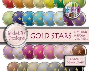 "Stars Digital Elements Pack ~ ""GOLD STARS"" ~ 31 Flairs ~  Star digital brads ~ CU Scrapbooking  ~ Rainbow ~ Design #114"