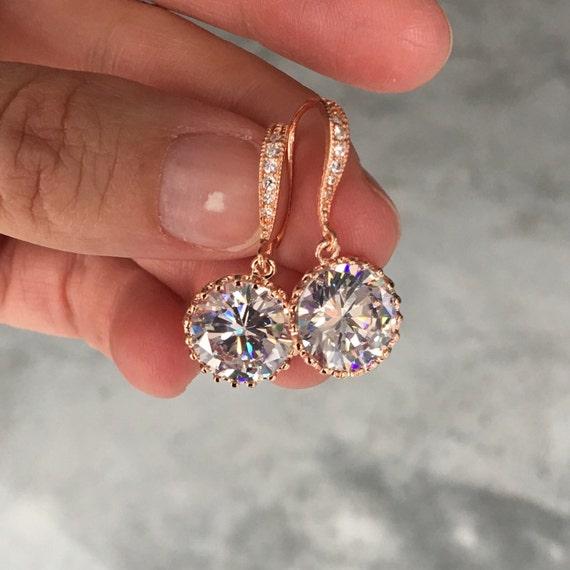 Rose Gold Crystal Drop Earrings, bridesmaids jewelry, wedding jewelry, brides earrings