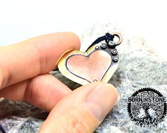 Valentine's heart Copper heart Copper pendant Heart pendant Best gift Magic pendant For her For him Steampunk heart Vintage pendant For wife