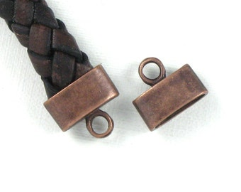 50 cord jewelry END CAPS in Antique Copper . Large and Oval . 9mm x 3.5mm Hole (EC3ac)