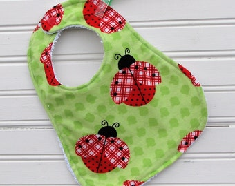 Handmade Bib - Bib - Baby Bib - Lady Bug Love Bib - Shower Gift for Baby Girl - Handmade Bib
