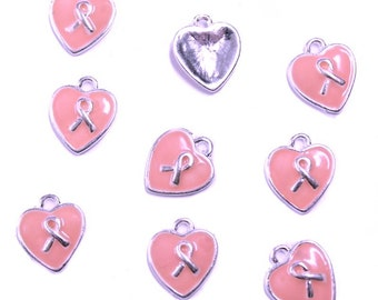 5 Breast Cancer Charms Pink Ribbon Awareness E071