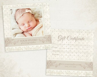 Photography Gift Certificate photoshop template 007- ID0105, Instant Download