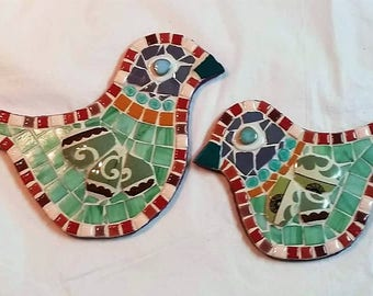 Twin ceramic mosaic birds. handmade birds, Wall art, Mixed media stained glass beads and ceramic tiles, home decor, original design.