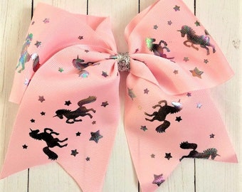 "Giant 7"" Pink Holographic Unicorn cheer hair bow"
