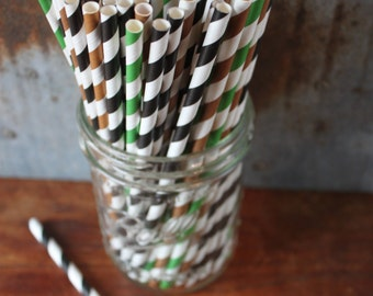 30 Camouflage Party Straws - black, green, brown - socker - football