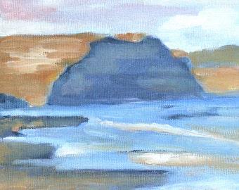 California ocean beach landscape print of original oil painting Drakes Bay Point Reyes Seashore