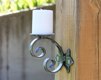 Candle Holder, Wall Mount Scrolled Candle Scone
