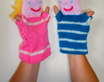 SALE. Pair of Funky Knitted Hand Puppets