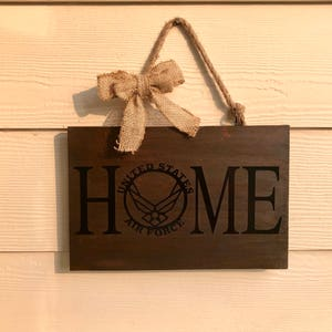 Airforce Home Entry Way Sign   Military Home Sign   Coast Guard Home   Marine  Home