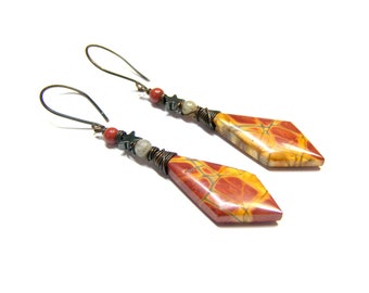 Red Creek earrings, Picasso Jasper Earrings, wire wrap earrings, etsy earrings, mothers day gifts, natural stone earrings, hematite, boho