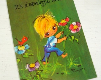 Vintage Get Well Card, Retro, Big Eyes, Wonderful World, Unused Greeting Card With Envelope, Green  (364-14)