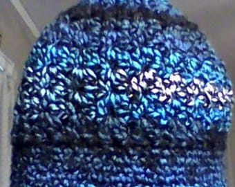 Messy Bun Beanie in shades of blues and black