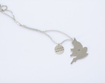 Custom Country/State and round drop hand stamped charm necklace in petite uppercase font/ LDS Missionary Necklace/ Missionary Mom Necklace