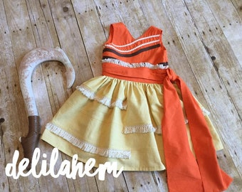 Moana inspired Tiered Dress 2T 3T 4T 5T 6 7 8 10 12 14