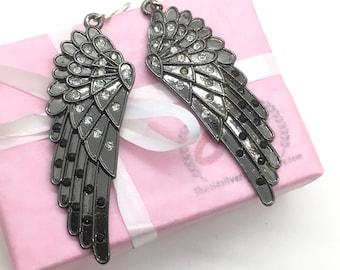 Black angel wing earrings, dark angel earrings, black diamond earrings, simulated diamond earrings, angel wing earrings, gift for women