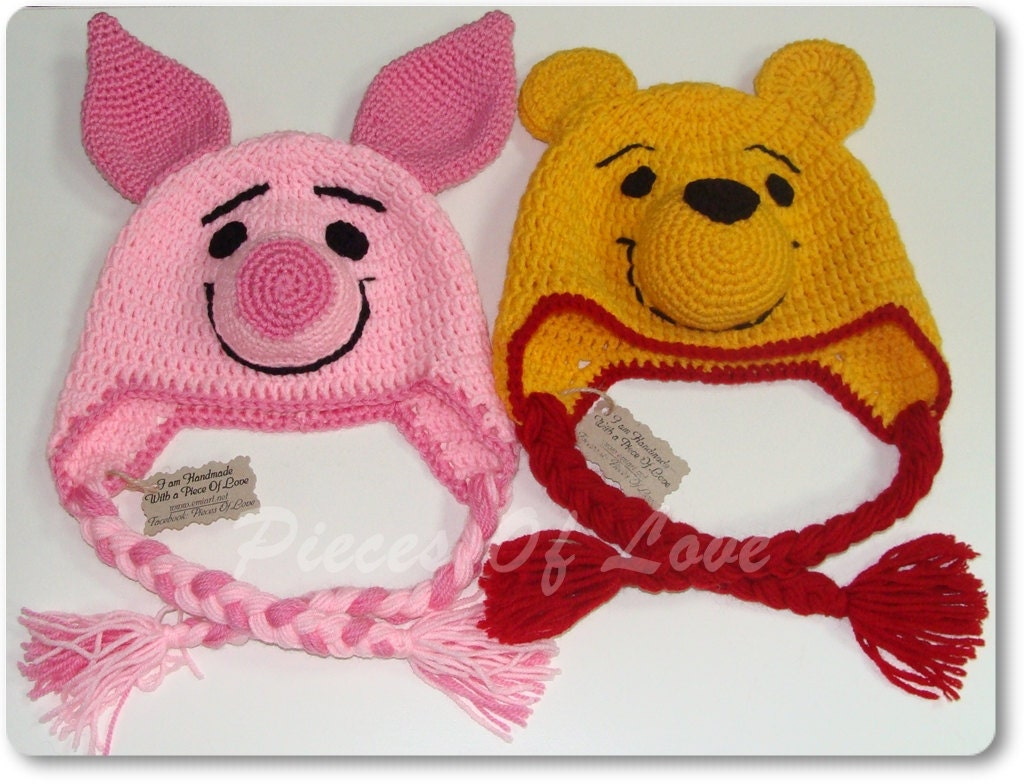 Piglet Amigurumi Free Pattern : Bear hat piglet hat present for a child winnie and piglet