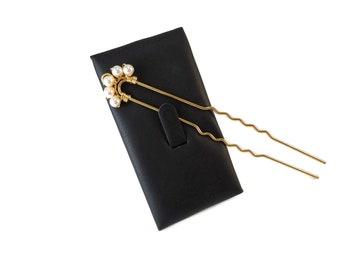 White Pearl Hair Pin Gold, Long Hair Pins Bridal Updo Hair Accessories, Swarovski Pearl Prom Hair Pins Pearls and Gold Bridal Hair Accessory