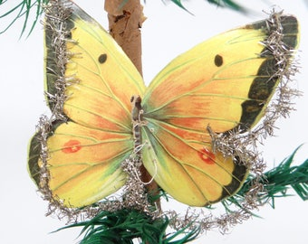Early 1900's Victorian Butterfly Die Cut Christmas Scrap Ornament with Wire Tinsel