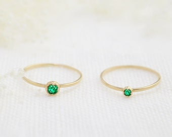 14k gold emerald stackable ring, tiny emerald ring, 2mm or 3mm, may birthstone ring, 14k yellow, rose, white gold