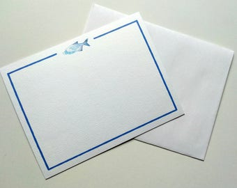 Fish with Blue Plaid Note Cards
