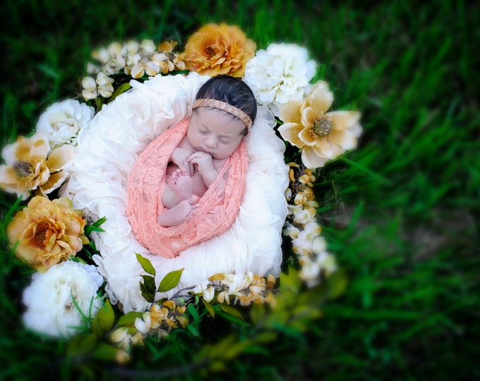 Papaya Peach Stretch Lace Swaddle Wrap AND / OR matching beaded headband for newborn photo shoots, stretch lace, photographer, bebe, prop