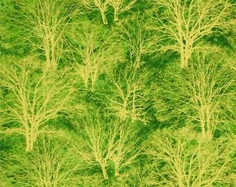 Green and gold metallic tree fabric, Christmas fabric by the yard, green fabric fabric by the yard, green metallic fabric, #18073