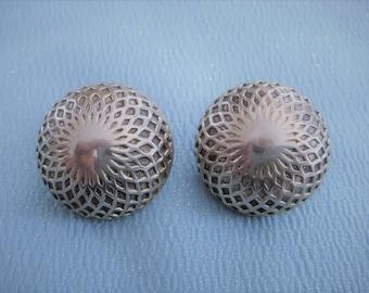 Vintage MARINO Silver Tone Diamond Textured Dome Clip On Earrings