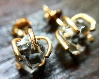 Gold Herkimer Diamond Stud Earrings, Herkimer Diamond Stud Earrings, Herkimer Diamond Earrings, Herkimer Diamond Studs, Herkimer Earrings