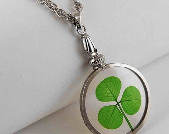 Silver Charm Necklace with a Real Genuine Shamrock - SN-3J