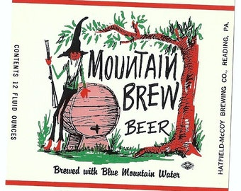 Mountain Brew Beer Vintage Label, 1960s