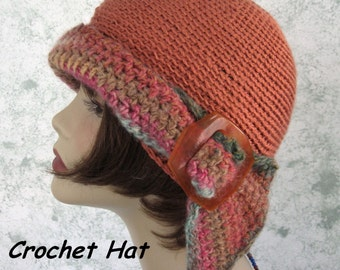 Womens Crochet Hat Pattern Versatile Flapper Girl 3 Ways To Wear Instant Download Easy To Make