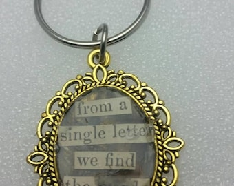 "Handmade  KC Plated Gold Oval Key Chain Pendant with Up cycled Book Poetry ""For You My Eager Tongue Uttered Words Clear"""
