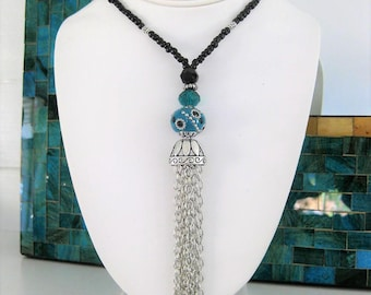 Long Tassel Necklaces, Beaded Necklaces, Blue Beaded Necklace, Black Necklace, Tassel Jewelry, Long Beaded Necklace, Bohemian Necklace, N967