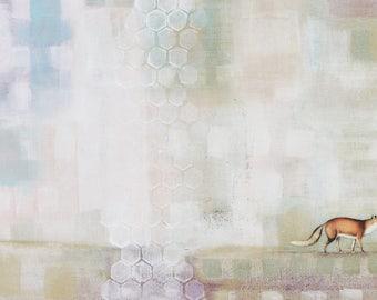 Red Fox Art - Original Fox Painting on Canvas , Pastel Abstract Fox Animal Wall Art