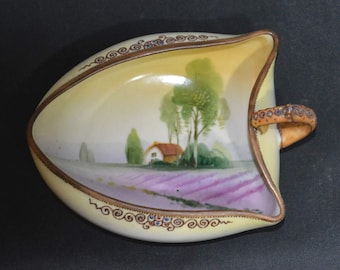 Unique Nippon Nappy Dish with Finger Handle & Moriage