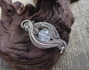 Boho Sterling Silver jewelry - Wire Wrapped - Healing Sugar quartz Pendant - Heady Wire Wrap - Clear crystall Necklace - Gift for her