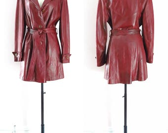 Vintage Leather Coat | 1970s Oxblood Leather Trench Coat  M | Retro 70s Hipster Leather Coat