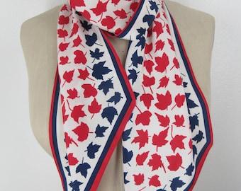 Vintage maple leaf Scarf skinny neck wrap red white blue patriotic thin turban headband sash tie bow scarf jully 4th accessory gift idea