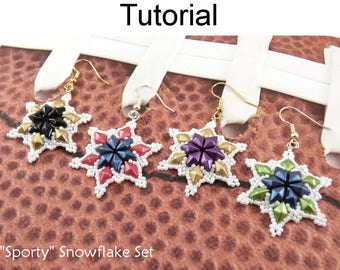 """Beading Tutorials and Patterns - DiamonDuo Two Hole Beads - Beaded Snowflakes - Earrings & Necklace - """"Sporty"""" Snowflake Set #28000"""