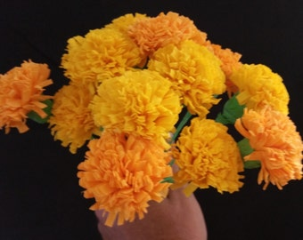 Day dead flower etsy day of the dead 12 orange and yellow marigolds dia de los muertos mexican mightylinksfo