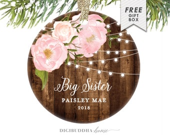 Big Sister Ornament Personalized Christmas Ornament for Baby Girl Christmas Ornament, Older Sister Ornament Floral Ornament for Big Sis Gift