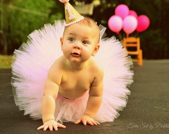 Cake Smash Outfit Girl Tutu, First Birthday Outfit Girl Tutu, 1st Birthday Tutu, First Birthday Tutu Skirt, SEWN Tulle Skirt, Newborn Tutu