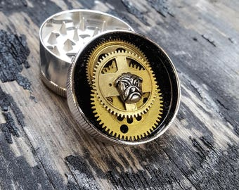 Steampunk Metal Herb Grinder -  LoVe that Bulldog Spice Crusher - Metal herbs and weed grinders - Amazing gift for 4:20 girls and boys