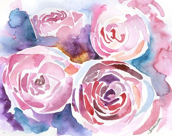 Peonies Watercolor Painting - 5 x 7 - Giclee Reproduction - Floral - Fine Art Peony