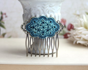 Dusty Blue Floral Wedding Hair Comb. Floral Bouquet. Dusty Blue Wedding. Bridesmaids Hair Accessory. Vintage Inspired. Bridesmaids Gift.