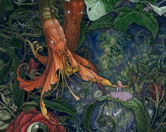 "8""x10"" Open Edition lustre print ""Alice and the Flowers"" / Alice in Wonderland, dark fantasy, surreal flowers, dark art, lowbrow, monsters"