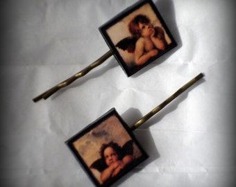 Handmade Polymer Clay Raphael Angels Antique Bronze Bobby Pins Set
